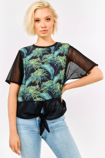 Black Printed Blouse With Sheer Sleeves