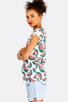 Cream Cotton T-Shirt With Watermelon Print
