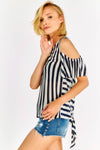 Black And White Striped Cold Shoulder Blouse
