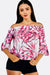Pink Off Shoulder Blouse With Leaf Print