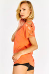 Orange Cut Out Sleeve Blouse