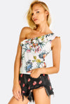 White Floral Printed Top