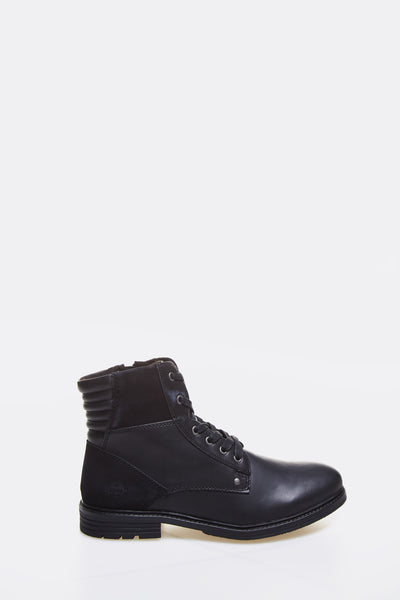 Black Faux Leather Combat Boots