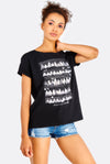 Black Cotton Loose Fit T-Shirt With Print