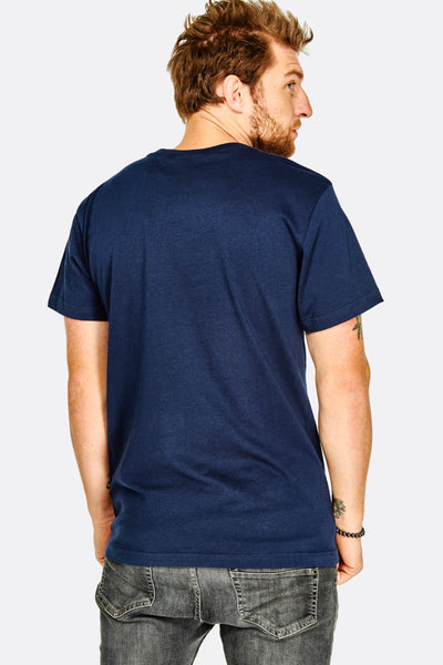 Navy Cotton T-Shirt With Text Print