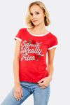 Red Cotton T-Shirt With Christmas Print
