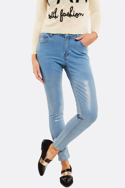 Light Blue Jeans With Coated Details
