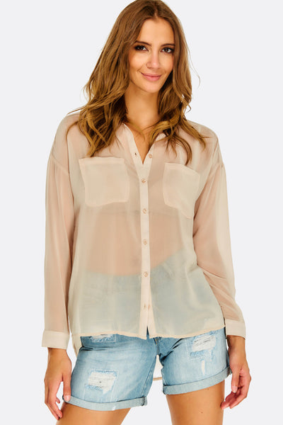 Beige Sheer Shirt