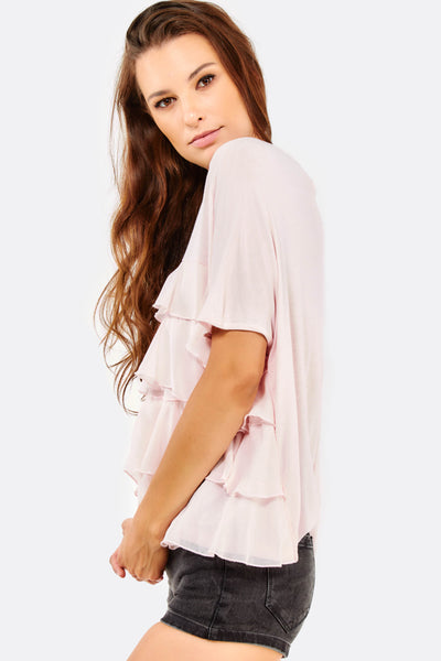 Pink Layered Short Sleeve Blouse