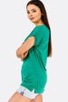 Green T-Shirt With Side Slits