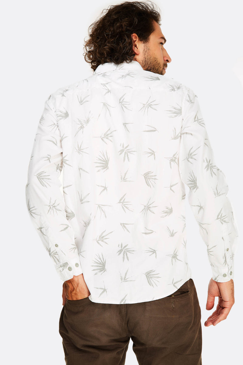white leaf patterned cotton shirt