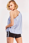 Blue Pinstripe One Shoulder Blouse