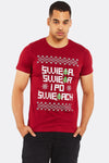 Maroon Cotton T-Shirt With Christmas Print
