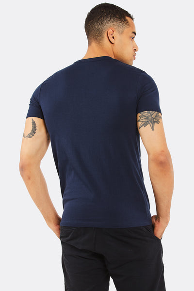 Navy Cotton T-Shirt With Christmas Print