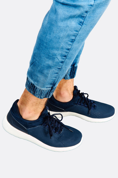 Navy Faux Leather Sneakers