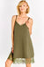 Khaki Lace Hem Dress