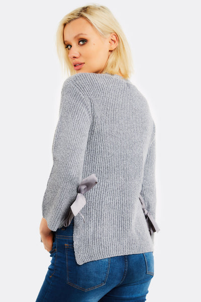 Light Grey Jumper With Side Ribbons