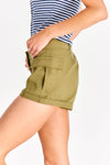 Military Green Shorts With Side Pockets