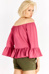Pink Off-Shoulder Blouse With Flared Hems