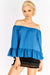 Blue Off-Shoulders Blouse With Flared Hems