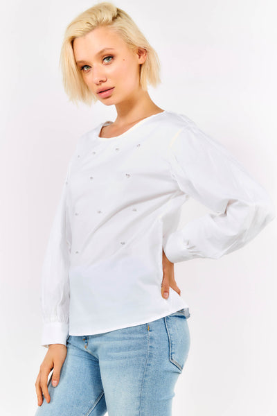White Cotton Long Sleeve Blouse