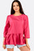 Fuchsia Blouse With Ruffled Hem