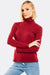 Dark Red Turtleneck Blouse