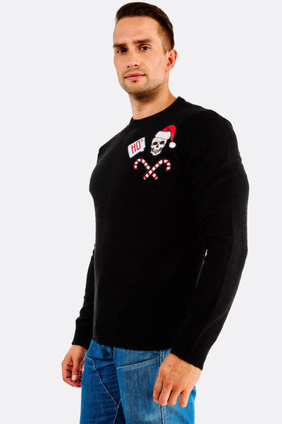 black sweater with appliques
