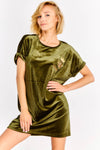 Khaki Velvet T-Shirt Dress