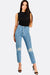 Light Blue High Waisted Crop Jeans With Embroideries