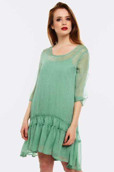 Pale Green Dress With Ruffled Hem
