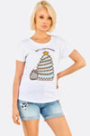 White Cotton T-Shirt With Cat Print