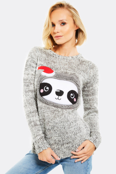 Light Grey Christmas Jumper With Sloth Design