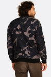 multicolour camo printed bomber jacket