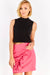 Bright Pink Short Skirt With Ruffles