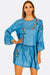 Blue Lyocell Dress With Floral Embroideries