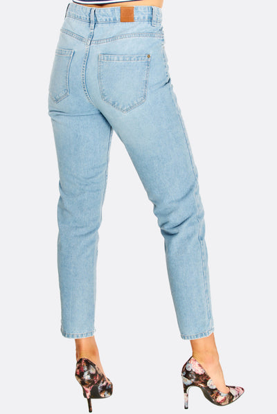 Light Blue Straight Crop Jeans