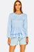 Pale Blue Blouse With Ruffled Hem