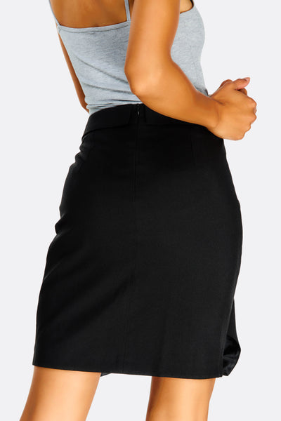 Black Short Overlapped Skirt