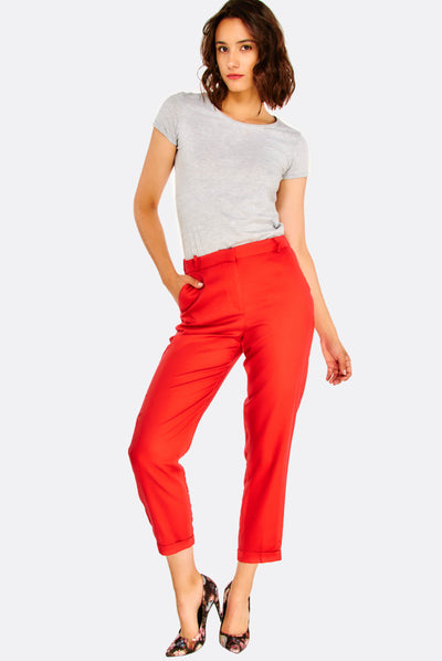 Red Crop Trousers