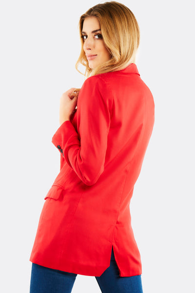Red Blazer With Side Pockets