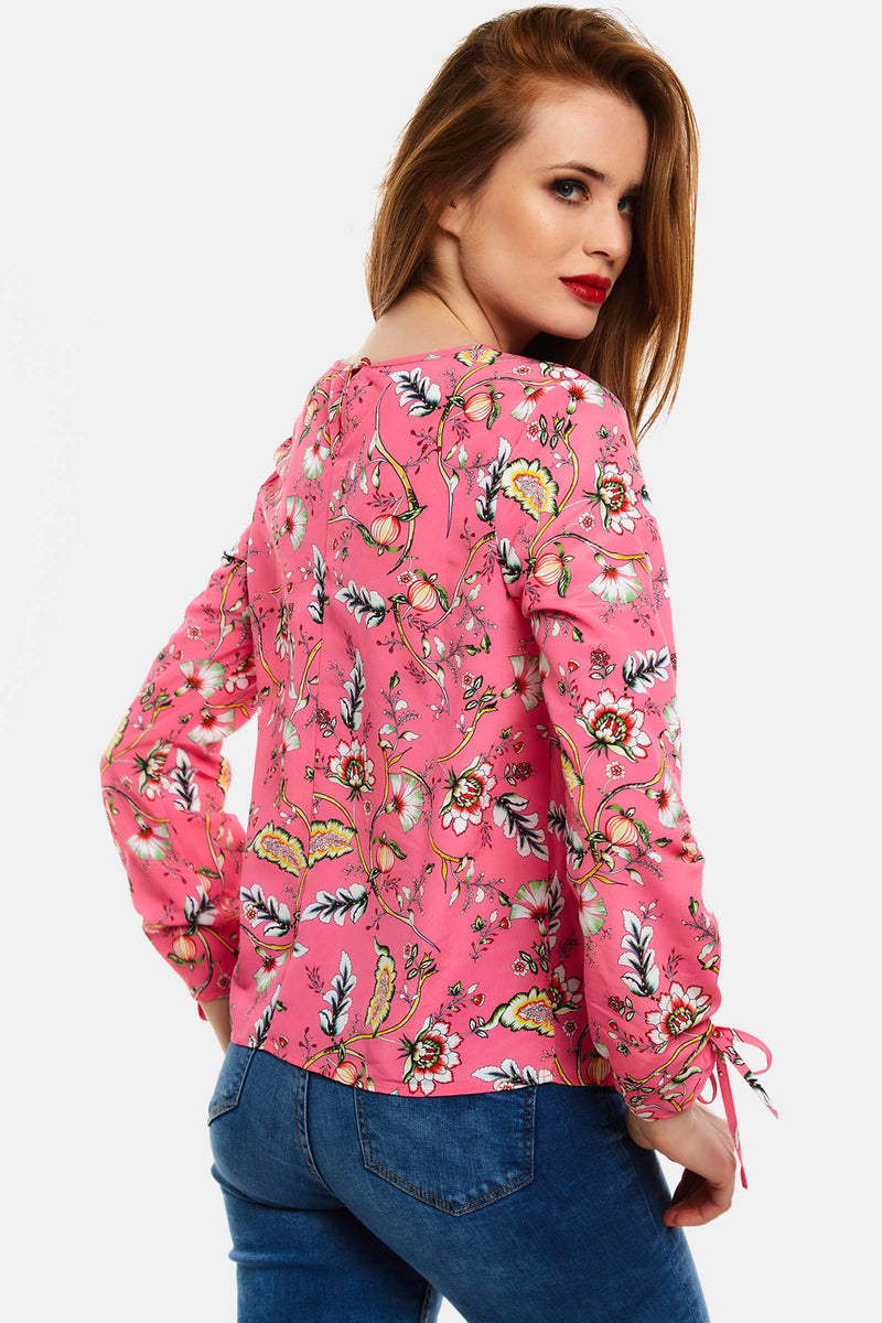 Pink Floral Pattern Blouse