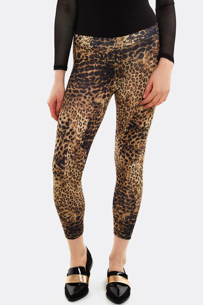 Brown Leggings With Leopard Print