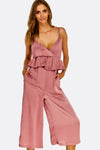 Dusty Rose Jumpsuit With Ruffles