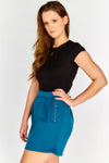 Soft jersey mini skirt with exposed zips and fitted waist band