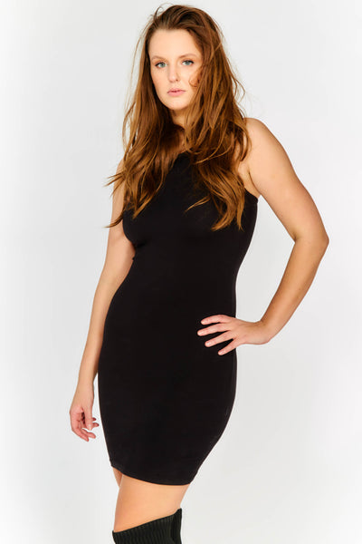 Black Mini Dress With Leather Look Neckline