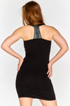 Sleeveless bodycon dress with razor back and faux leather detail