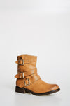 Light Brown Short Boots With Buckles