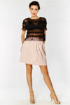 Textured mini skirt with fitted waistband