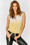 Sleeveless cropped dip dye tie front Shirt